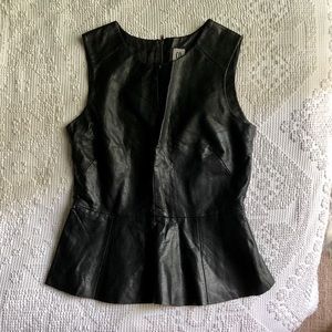 Faux leather peplum sleeveless top- never worn